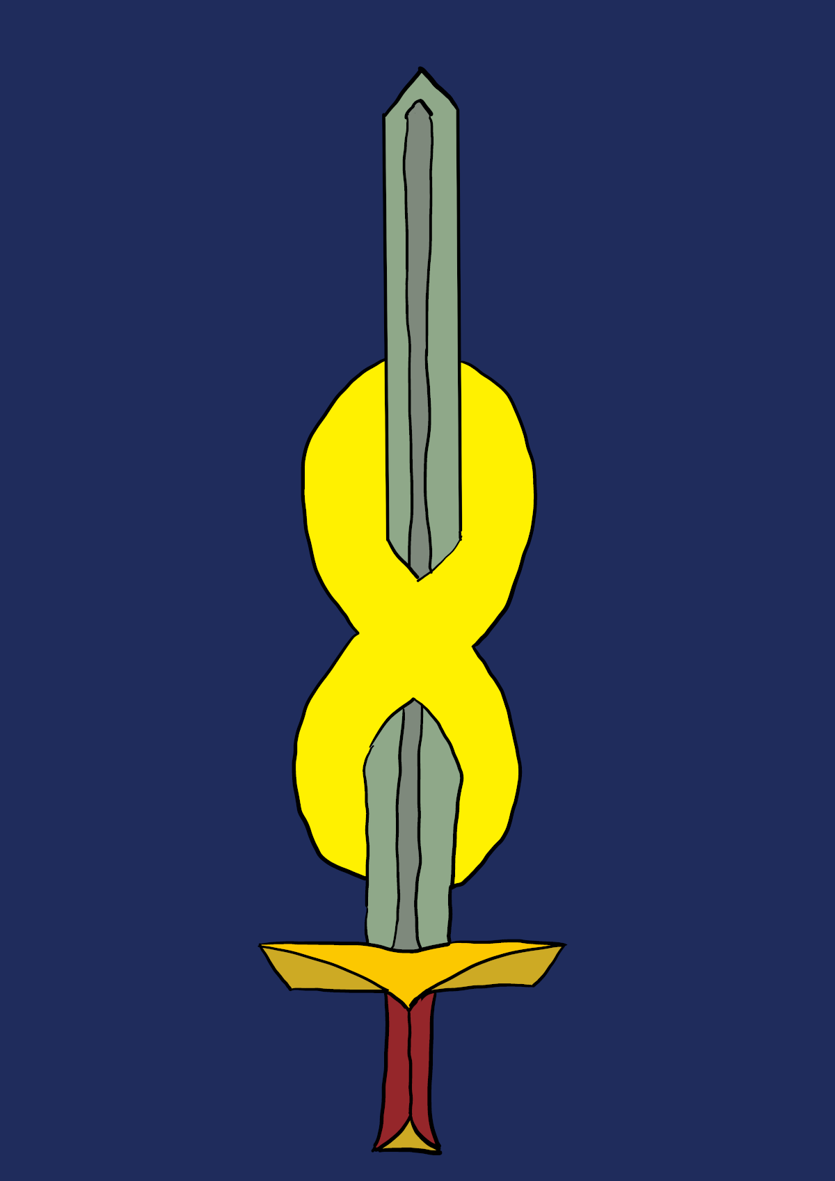 A sword pierces infinity. The symbol of the Pan-Galactic Federation.